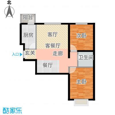 雍景山岚85.00㎡D户型2室1厅1卫1厨
