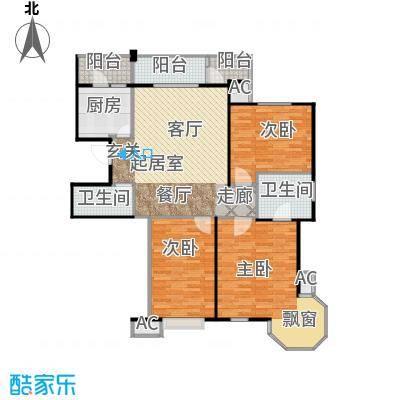 瑞都公园世家124.35㎡A户型三室两厅两卫户型