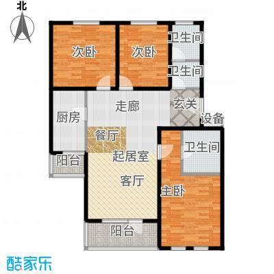 德邑新时空3室2厅2卫1厨户型
