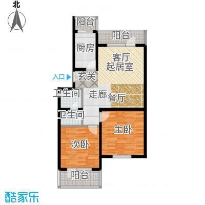 德邑新时空2室2厅1卫1厨户型
