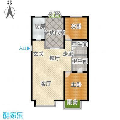 水恋晶城2室2厅2卫1厨E2户型