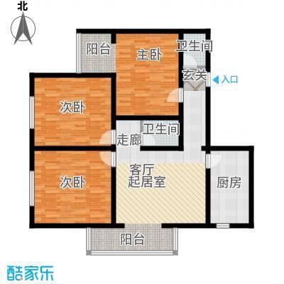 都市T站114.77㎡三室一厅两卫户型
