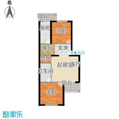 都市T站90.18㎡2室2厅1卫户型