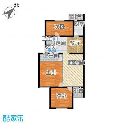 都市T站113.04㎡a3室2厅2卫户型