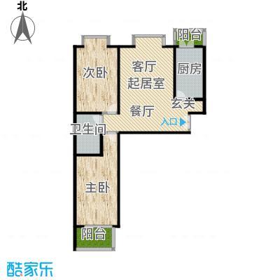 蓝山国际114.74㎡E户型二室二厅户型