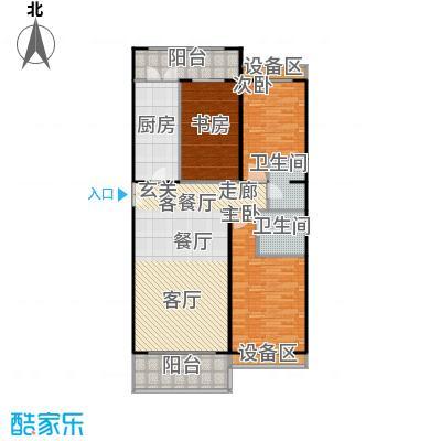 博雅世家138.97㎡三室两厅两卫户型