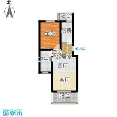 城铁边上的家65.00㎡一室二厅一卫户型