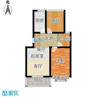 城铁边上的家71.60㎡二室二厅一卫户型