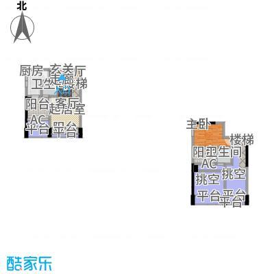 金科蚂蚁SOHO二代A型,一房二厅二卫+景观阳台,约58.75平米户型