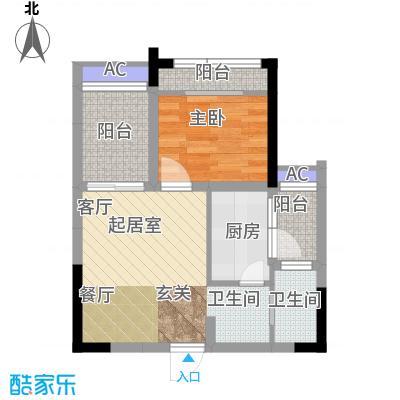 金科蚂蚁SOHO二代C型,一房二厅一卫+景观阳台,约35.76平米户型