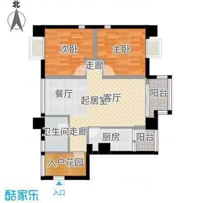 木鱼石水木年华3期2、4、5号楼标准层B2户型2室1卫1厨