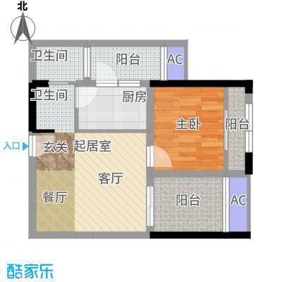 金科蚂蚁SOHO二代1房2厅1卫+观景阳台,约42.25平米户型