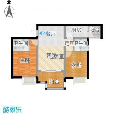 木鱼石水木年华3期1、3、6号楼标准层B1户型2室2卫1厨