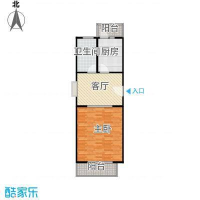 依澜晓镇61.42㎡A2户型一室二厅一卫户型