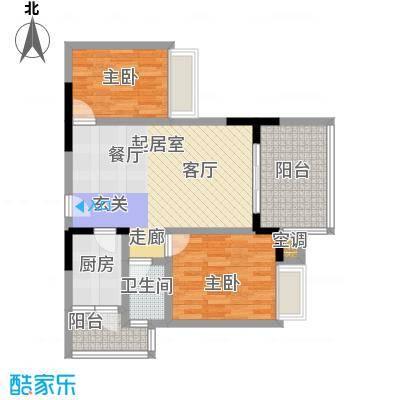 佳华两代一家二房二厅一卫-套内面积66.32平方米-48套户型
