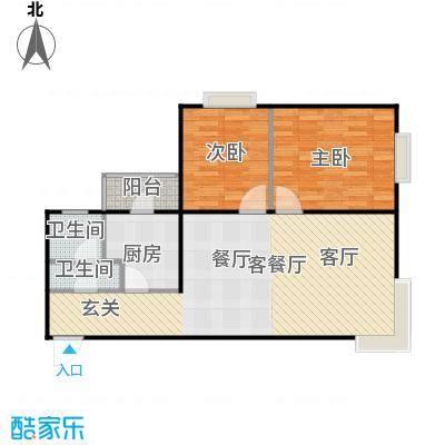 梧杖爱街区(碧桂园二期)92.00㎡2E-户型二室二厅二卫户型