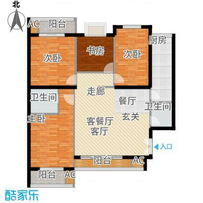 新国展国际公寓131.46㎡D3户型四室二厅二卫户型