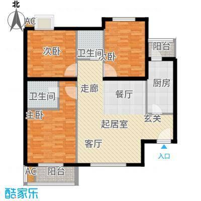 新国展国际公寓112.86㎡A3户型三室二厅二卫户型