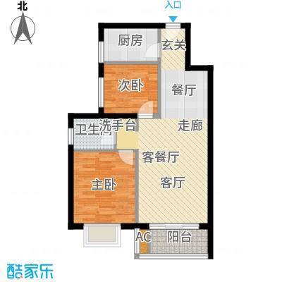 新国展国际公寓76.05㎡C1户型二室二厅一卫户型