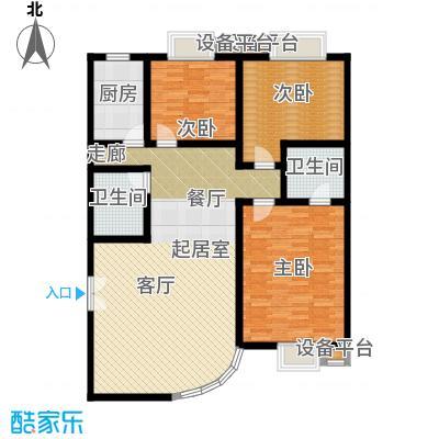 空港米兰花园146.35㎡B户型缱绻微岚三室两厅两卫户型