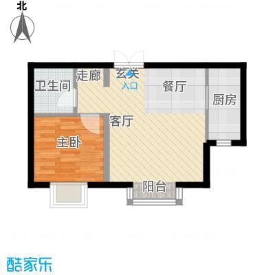 书香名邸1号楼一室两厅一卫户型
