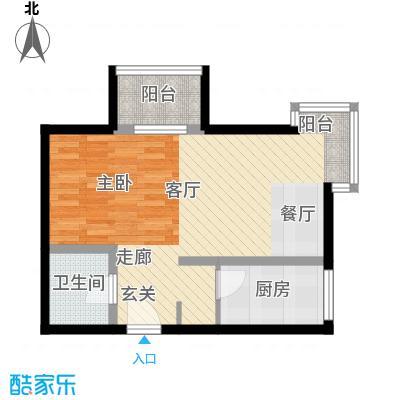 书香名邸49.78㎡三期11#S2一室一卫户型