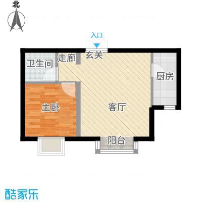 书香名邸四期善缘紫檀1E-1单元一室一卫户型