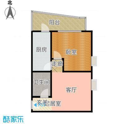 慧竹丽景53.67㎡一室一厅一卫户型