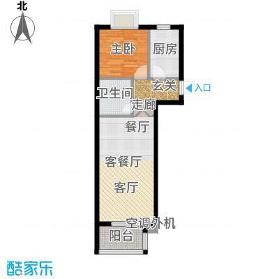 古韵新居1、2号楼A2户型1室1厅1卫1厨