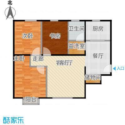 京汉铂寓(顺义)93.01㎡D区B-03户型3室1厅1卫1厨