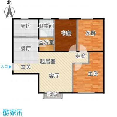京汉铂寓(顺义)90.11㎡D区A-03户型3室1卫1厨