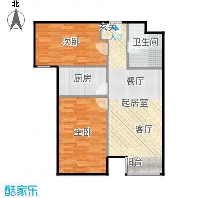 京汉铂寓(顺义)86.73㎡C户型2室1卫1厨