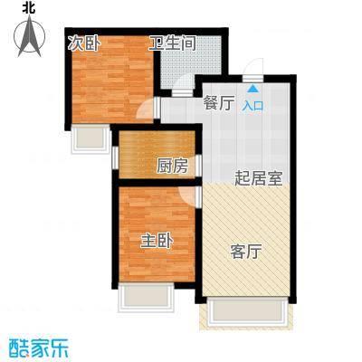 保利・罗兰香谷85.00㎡B1户型2室1卫1厨