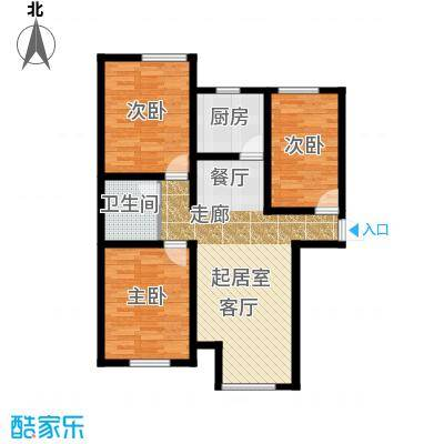保利・罗兰香谷90.00㎡C1户型3室2厅1卫