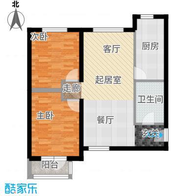首开智慧社85.00㎡1号楼A2中间单元二室户型2室2厅1卫