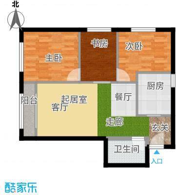 溪城家园67.23㎡C1户型3室1卫1厨