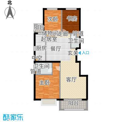 紫金新干线130.37㎡C4三室两厅两卫户型