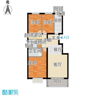 紫金新干线132.00㎡C3三室两厅两卫户型