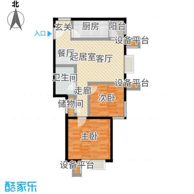 北京北88.81㎡B2户型二室一厅一卫户型