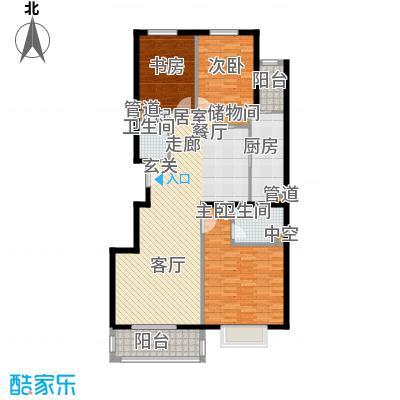 紫金新干线132.33㎡C8三室两厅两卫户型