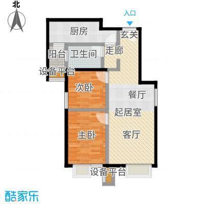 北京北80.37㎡B3户型二室一厅一卫户型