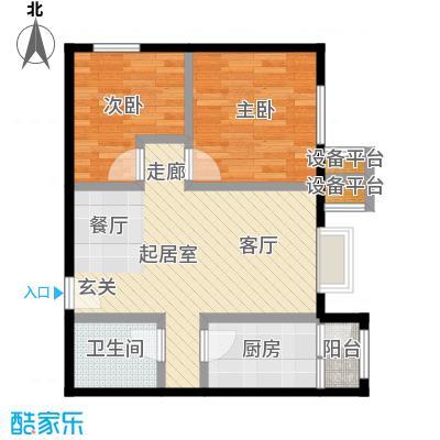 北京北72.90㎡B4户型二室一厅一卫户型