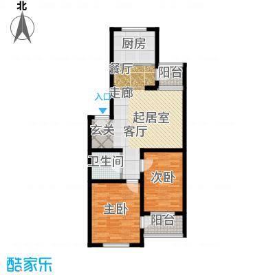 绿茵小区77.90㎡二室一厅一卫户型