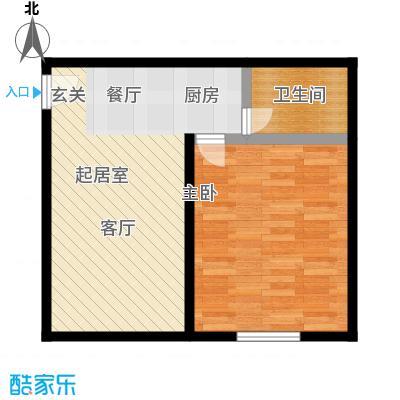 资尚财富公寓(龙城花园三期)47.74㎡一居一厅一卫户型