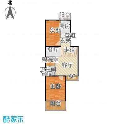 水屯家园90.00㎡两室两厅一卫户型