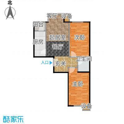 葵花社86.45㎡E户型两室两厅一卫户型