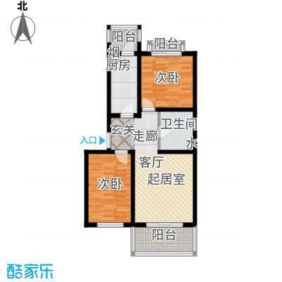 东港生活城74.01㎡两室两厅一卫户型