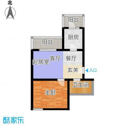 天鑫家园(格林雅地)65.00㎡一室一厅一卫户型