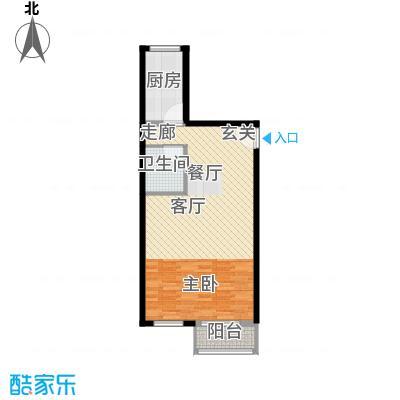 书香名邸58.11㎡三期11#甲S7一室一卫户型