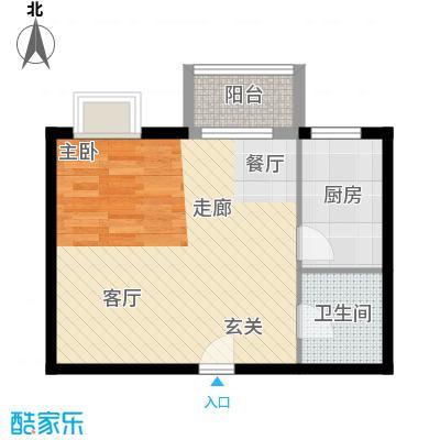 书香名邸45.86㎡三期11#甲S6一室一卫户型